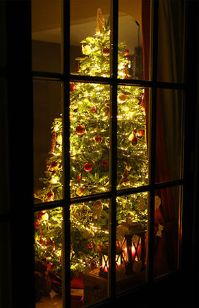 Decorated and lit Christmas tree standing in a living room is here photographed from the outside through the window.
